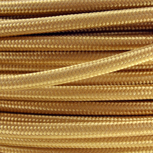 Coloured wire. Fabric lighting cable in a gold finish. Round 3 core flex.