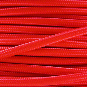 Coloured wire. Fabric lighting cable in a bright red finish. Round 3 core flex.