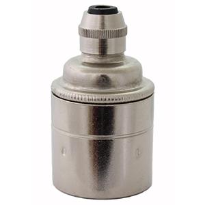 nickel silver lamp holder E27 screw fitting plain skirt for bare bulbs