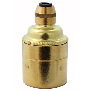 polished brass lamp holder e27 plain skirt for bare bulbs