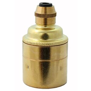 polished brass lamp holder e27 plain skirt for bare bulbs