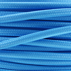 Cloth covered wire. Fabric lighting cable in a bright blue finish. Round 3 core flex.