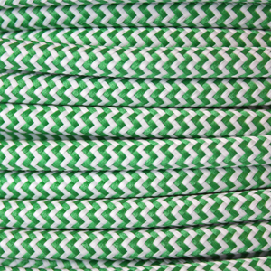 Striped flex / Fabric lighting cable in a green and white finish. Round 3 core flex.