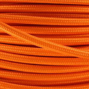 Coloured flex. Fabric lighting cable in an orange finish. Round 3 core flex