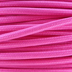 Coloured flex / Fabric lighting cable in a bright pink finish. Round 3 core flex.