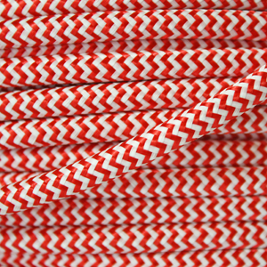 Striped flex / fabric lighting cable in a red and white finish. Round 3 core flex.