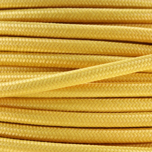 Coloured flex / Fabric lighting cable in a yellow finish. Round 3 core flex.