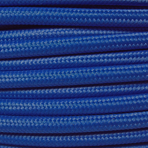 Braided fabric lighting cable in a dark blue colour. Round 3 core coloured flex