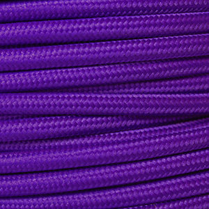 Coloured Flex. Braided fabric lighting cable in a purple finish. Round 3 core flex