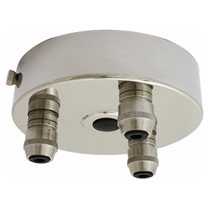 Multiple drop ceiling rose with 1 to 9 outlets in nickel finish