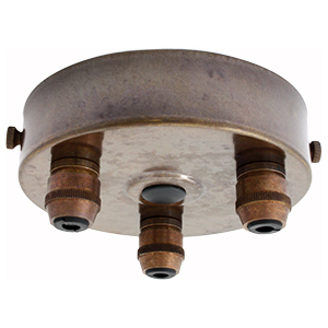 Multiple drop ceiling rose with 1 to 9 outlets in old brass finish